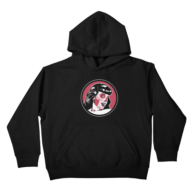 Bettie Sugar Skull Red Kids Pullover Hoody by bennygraphix's Artist Shop