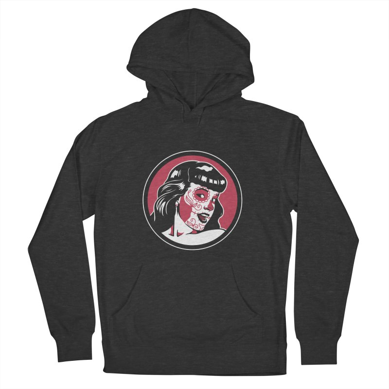 Bettie Sugar Skull Red Men's French Terry Pullover Hoody by bennygraphix's Artist Shop