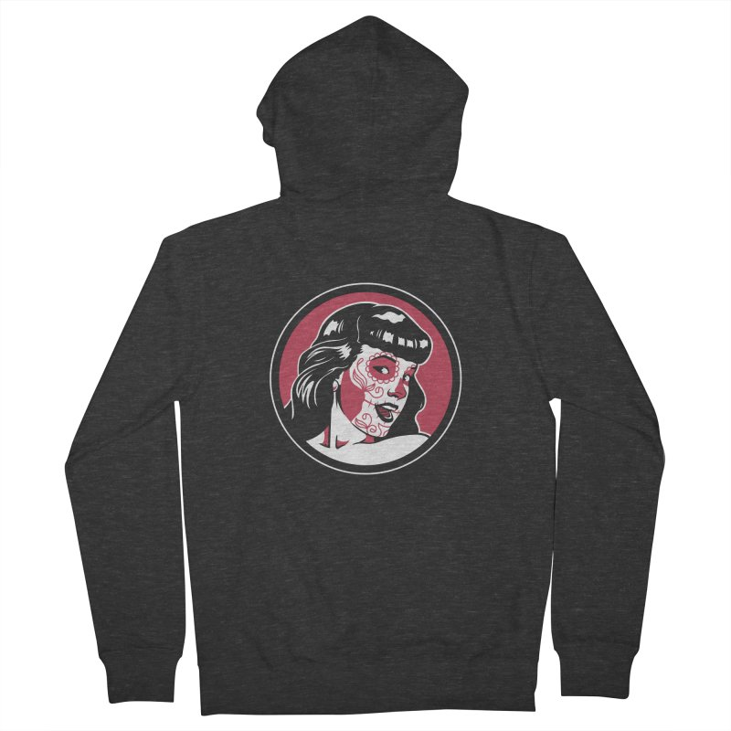 Bettie Sugar Skull Red Women's French Terry Zip-Up Hoody by bennygraphix's Artist Shop
