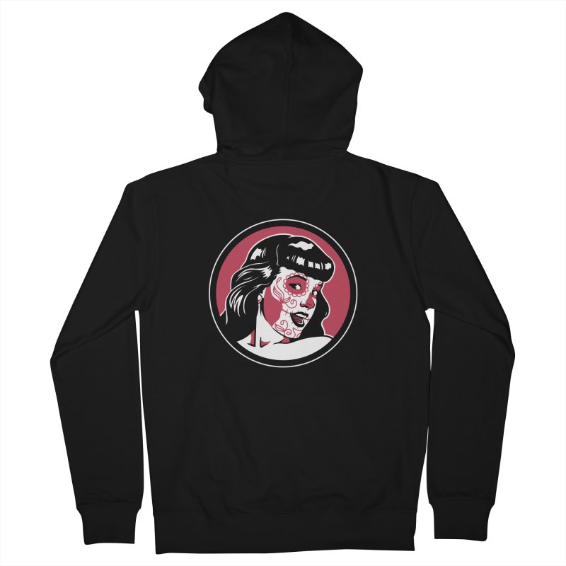 Bettie Sugar Skull Red Men's French Terry Zip-Up Hoody by bennygraphix's Artist Shop