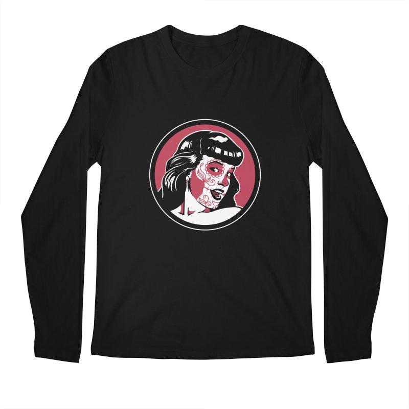 Bettie Sugar Skull Red Men's Regular Longsleeve T-Shirt by bennygraphix's Artist Shop