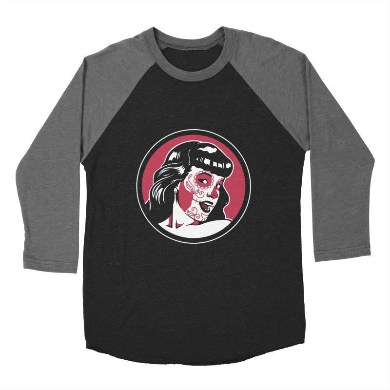 Bettie Sugar Skull Red Women's Baseball Triblend Longsleeve T-Shirt by bennygraphix's Artist Shop