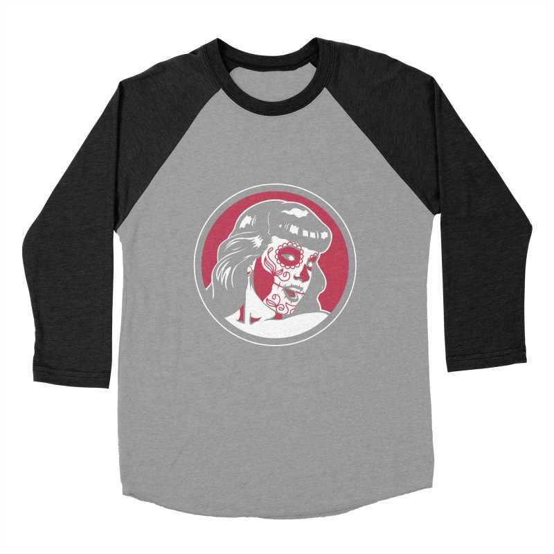 Bettie Sugar Skull Red Women's Baseball Triblend Longsleeve T-Shirt by bennygraphix's Artist Shop