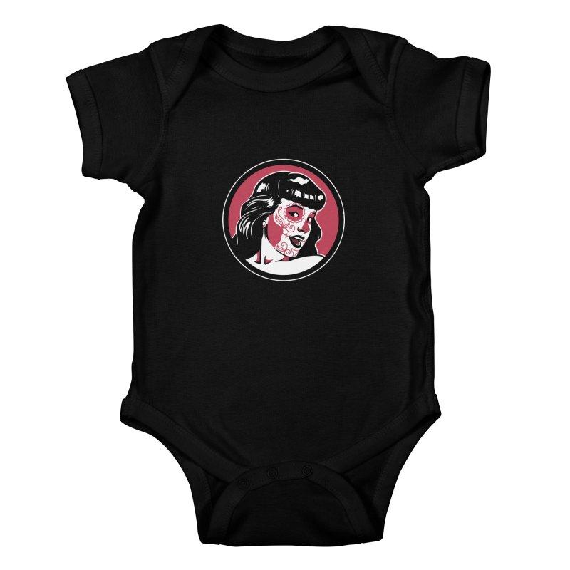 Bettie Sugar Skull Red Kids Baby Bodysuit by bennygraphix's Artist Shop