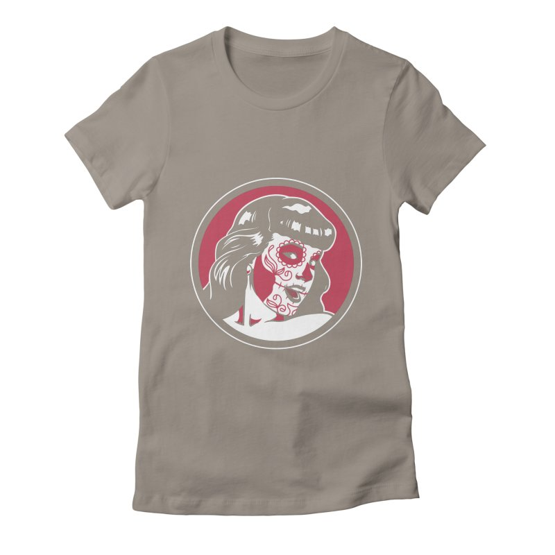 Bettie Sugar Skull Red Women's Fitted T-Shirt by bennygraphix's Artist Shop