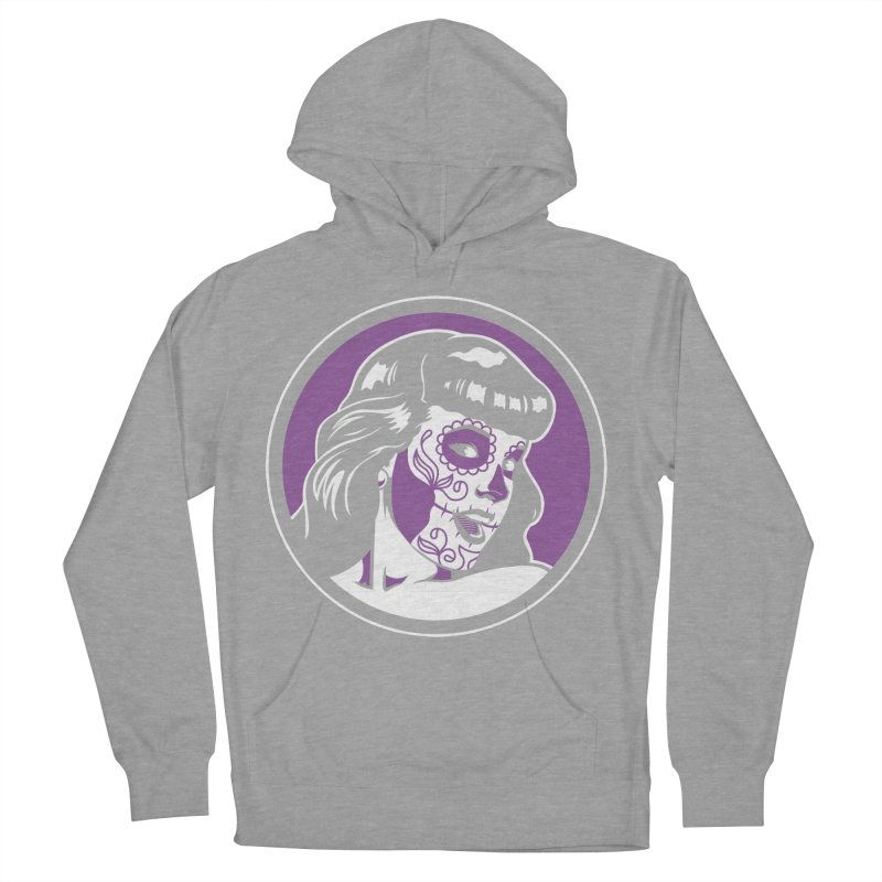 Bettie Sugar Skull Violet Women's French Terry Pullover Hoody by bennygraphix's Artist Shop