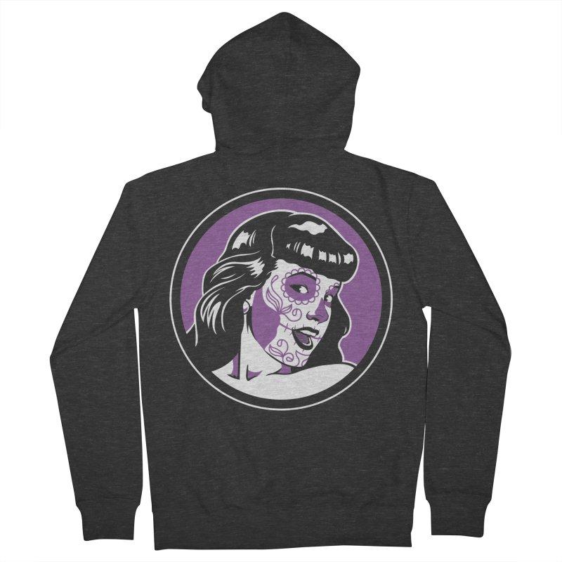 Bettie Sugar Skull Violet Men's Zip-Up Hoody by bennygraphix's Artist Shop