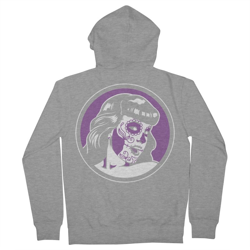 Bettie Sugar Skull Violet Men's French Terry Zip-Up Hoody by bennygraphix's Artist Shop