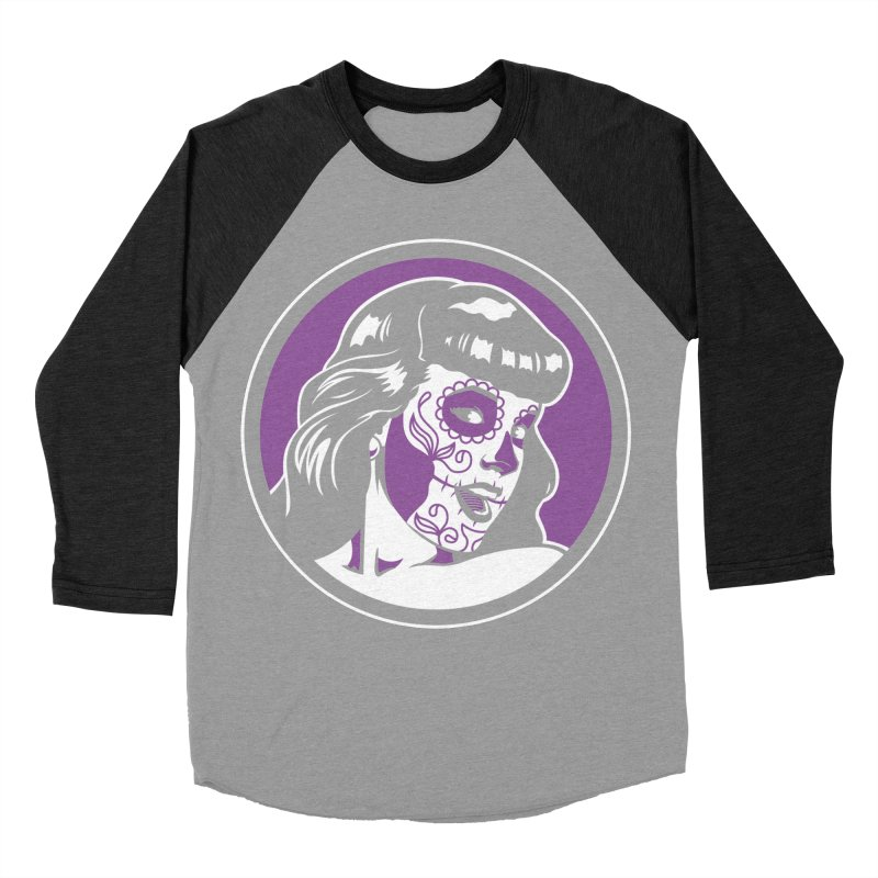 Bettie Sugar Skull Violet Men's Baseball Triblend T-Shirt by bennygraphix's Artist Shop