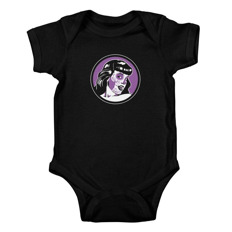 Bettie Sugar Skull Violet Kids Baby Bodysuit by bennygraphix's Artist Shop