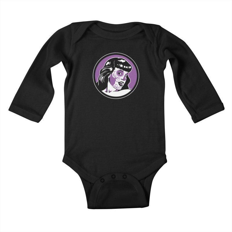 Bettie Sugar Skull Violet Kids Baby Longsleeve Bodysuit by bennygraphix's Artist Shop