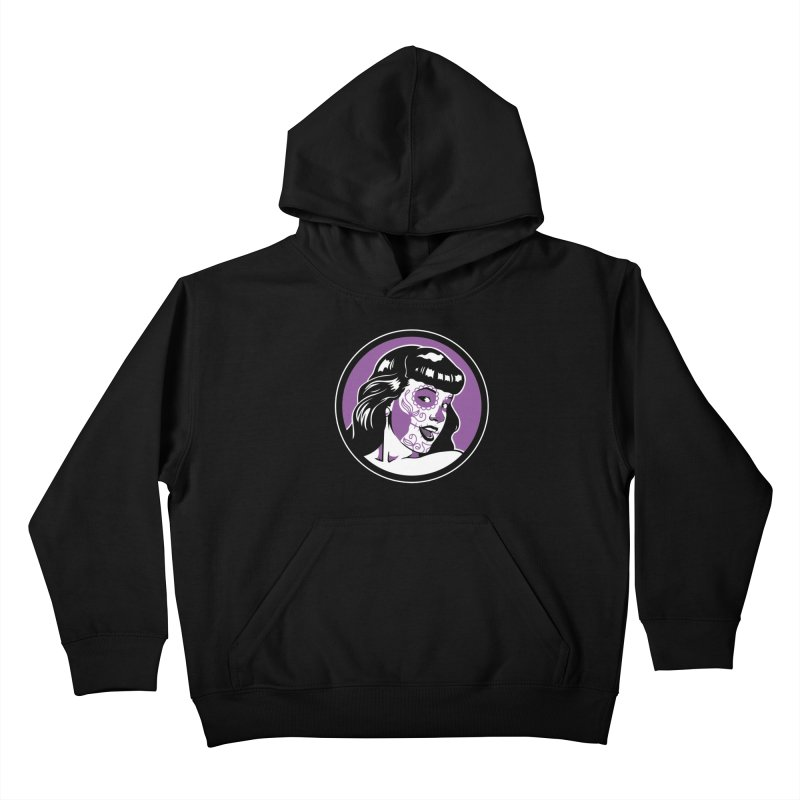Bettie Sugar Skull Violet Kids Pullover Hoody by bennygraphix's Artist Shop