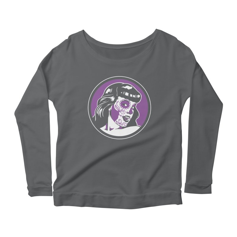 Bettie Sugar Skull Violet Women's Longsleeve Scoopneck  by bennygraphix's Artist Shop