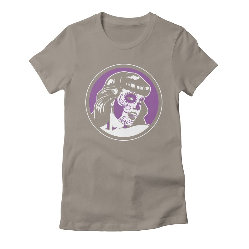 Bettie Sugar Skull Violet Women's Fitted T-Shirt by bennygraphix's Artist Shop