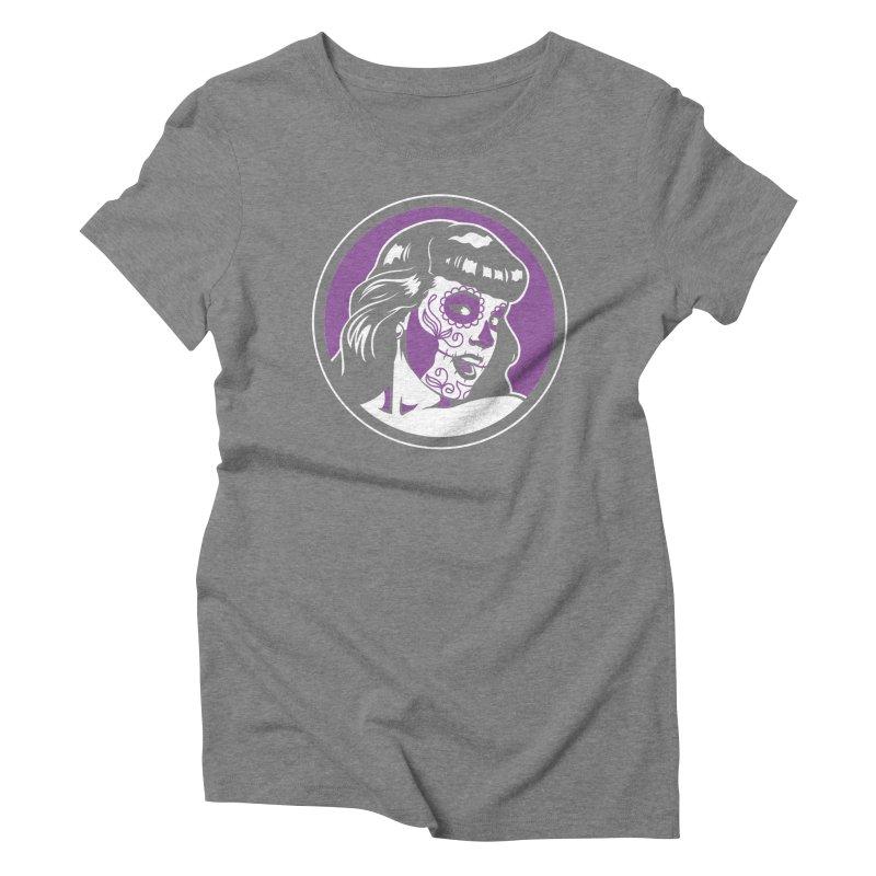 Bettie Sugar Skull Violet Women's Triblend T-Shirt by bennygraphix's Artist Shop