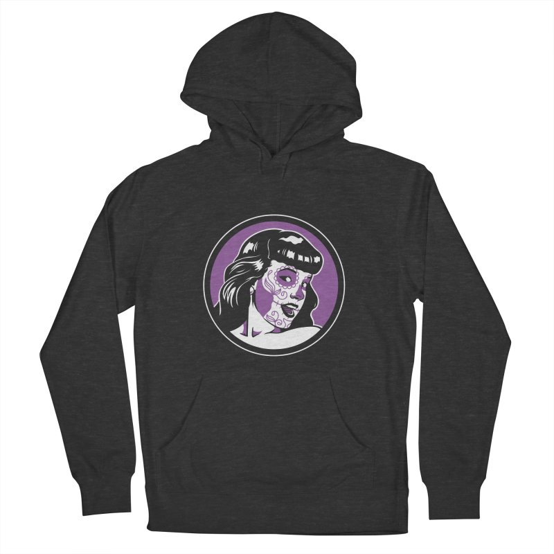 Bettie Sugar Skull Violet Men's French Terry Pullover Hoody by bennygraphix's Artist Shop