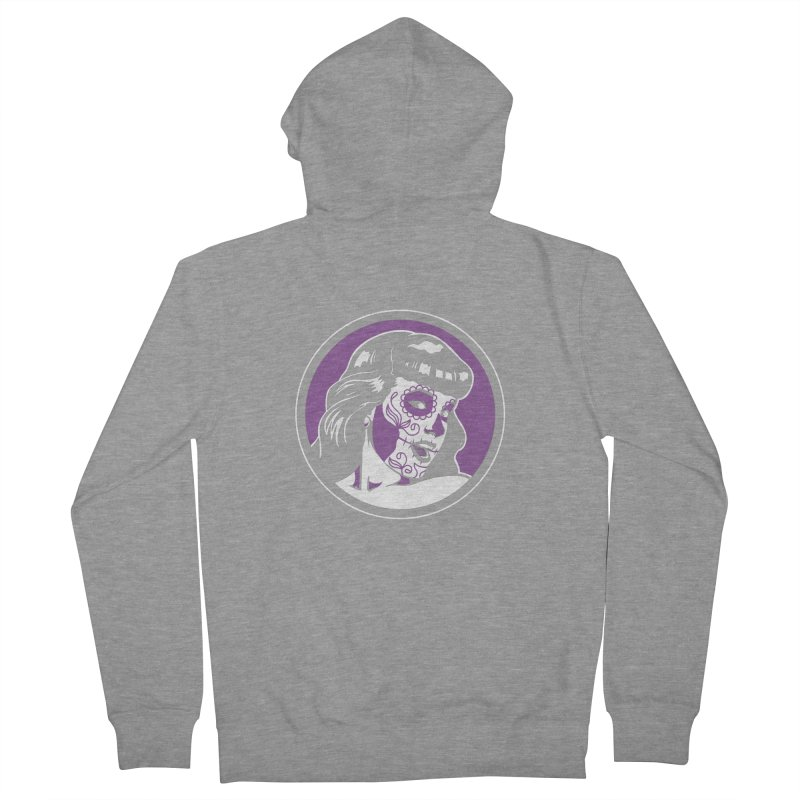 Bettie Sugar Skull Violet Men's French Terry Zip-Up Hoody by bennygraphix's Artist Shop