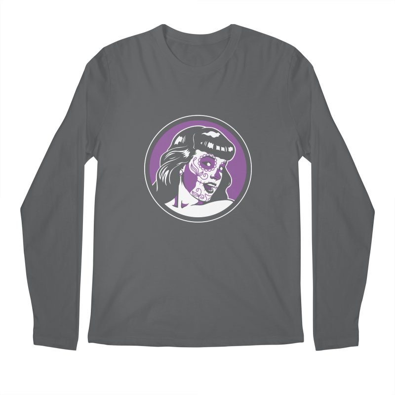 Bettie Sugar Skull Violet Men's Regular Longsleeve T-Shirt by bennygraphix's Artist Shop