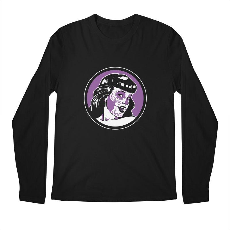 Bettie Sugar Skull Violet Men's Regular Longsleeve T-Shirt by bennygraphix's Artist Shop