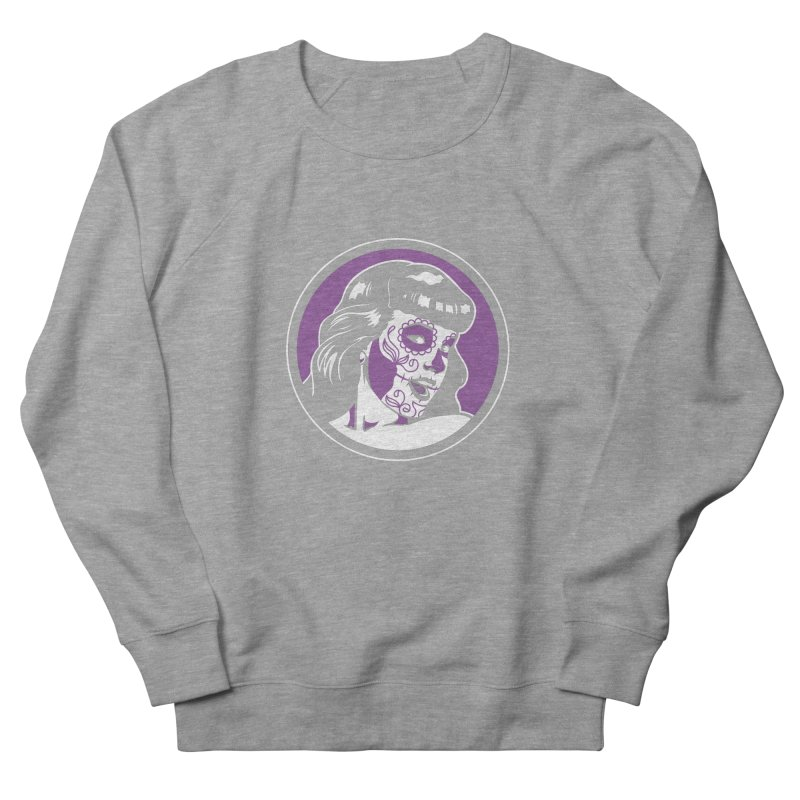 Bettie Sugar Skull Violet Men's French Terry Sweatshirt by bennygraphix's Artist Shop
