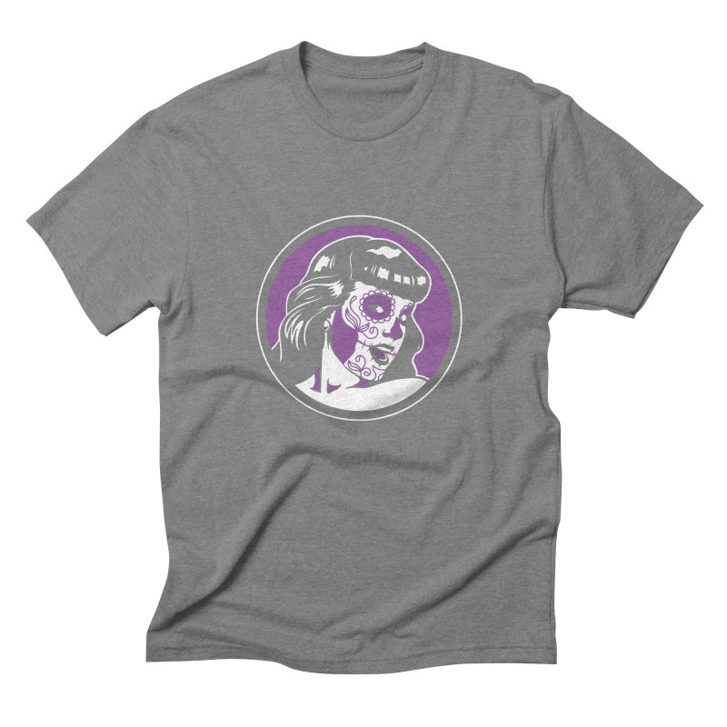 Bettie Sugar Skull Violet Men's Triblend T-Shirt by bennygraphix's Artist Shop