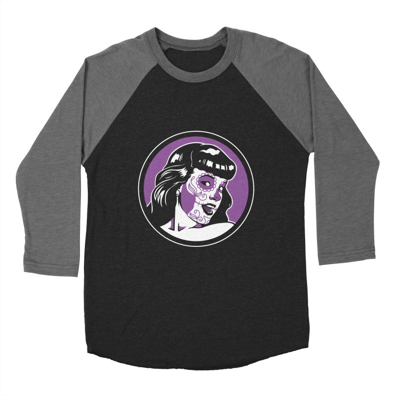 Bettie Sugar Skull Violet Women's Baseball Triblend Longsleeve T-Shirt by bennygraphix's Artist Shop