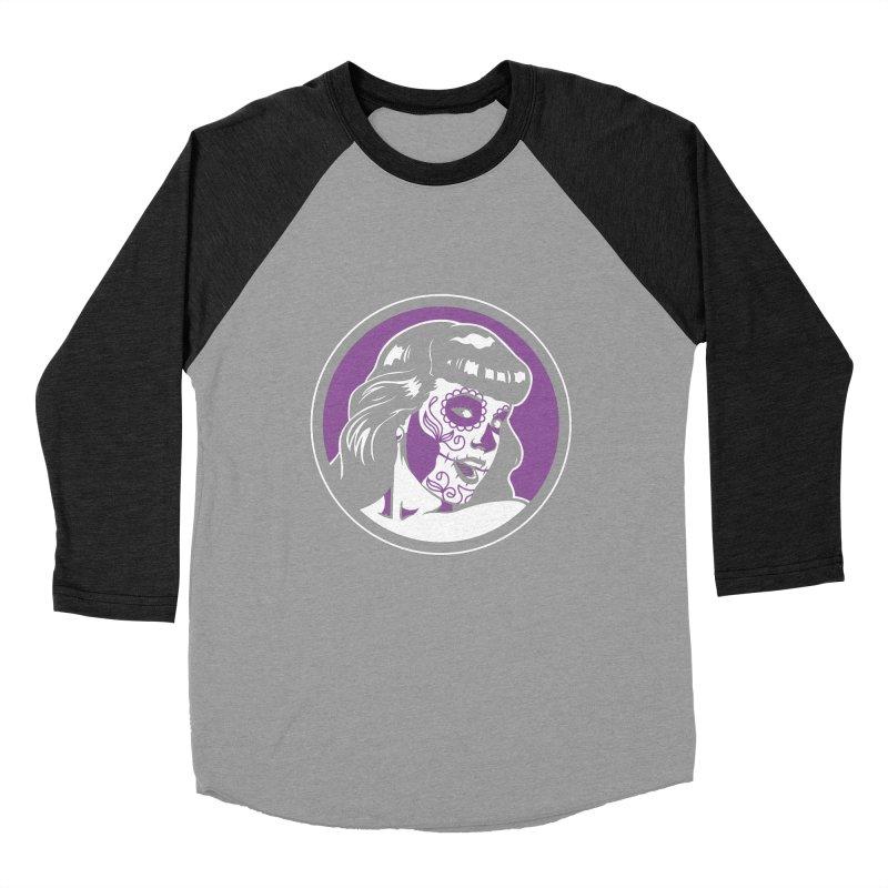 Bettie Sugar Skull Violet Men's Baseball Triblend Longsleeve T-Shirt by bennygraphix's Artist Shop