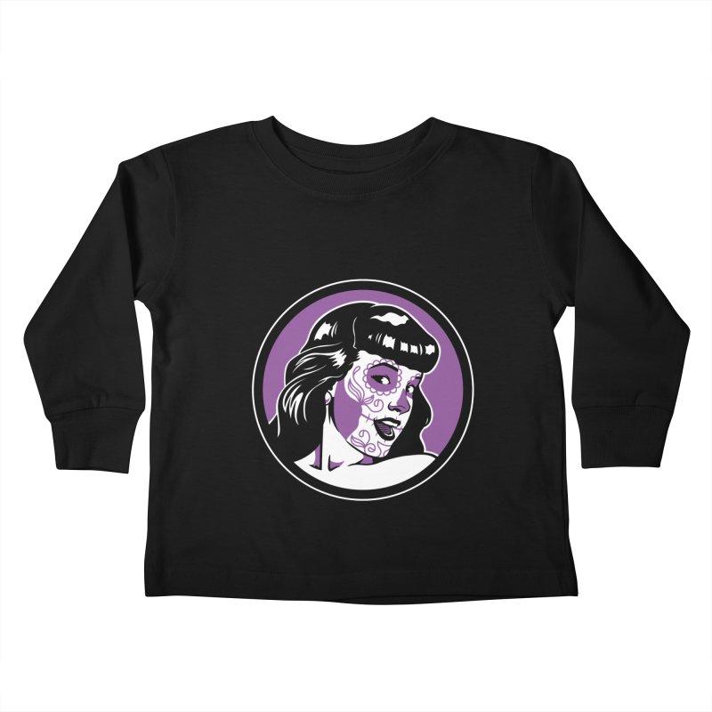Bettie Sugar Skull Violet Kids Toddler Longsleeve T-Shirt by bennygraphix's Artist Shop