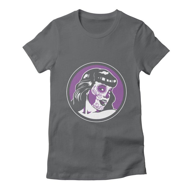 Bettie Sugar Skull Violet Women's Fitted T-Shirt by bennygraphix's Artist Shop