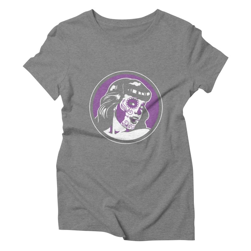 Bettie Sugar Skull Violet Women's Triblend T-Shirt by bennygraphix's Artist Shop