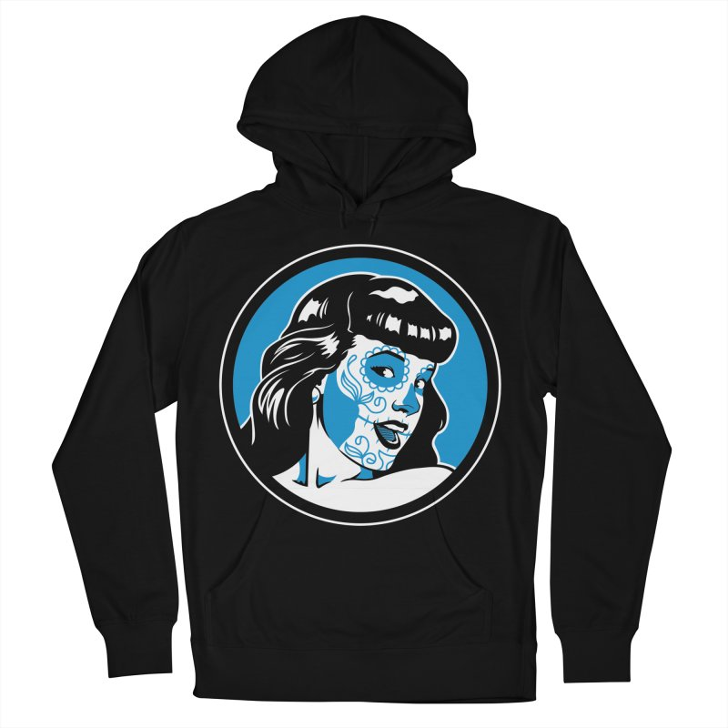 Bettie Sugar Skull Blue Women's French Terry Pullover Hoody by bennygraphix's Artist Shop