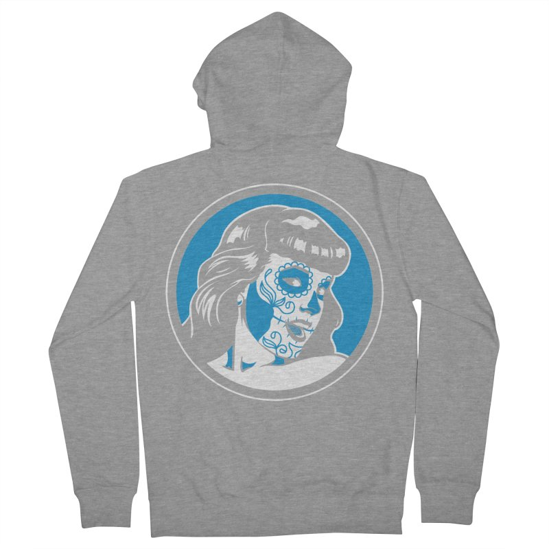 Bettie Sugar Skull Blue Women's French Terry Zip-Up Hoody by bennygraphix's Artist Shop
