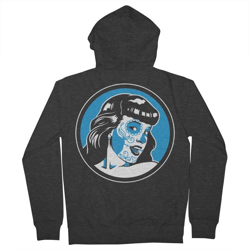 Bettie Sugar Skull Blue Men's French Terry Zip-Up Hoody by bennygraphix's Artist Shop