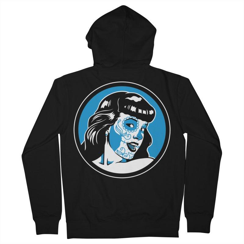 Bettie Sugar Skull Blue Men's Zip-Up Hoody by bennygraphix's Artist Shop