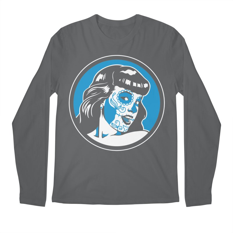 Bettie Sugar Skull Blue Men's Longsleeve T-Shirt by bennygraphix's Artist Shop