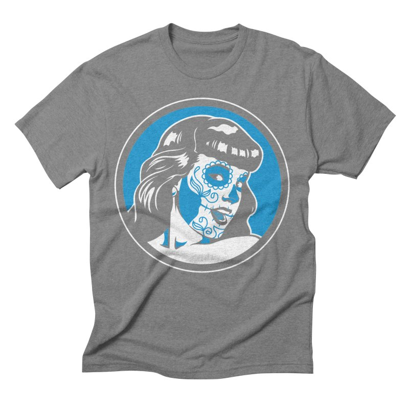 Bettie Sugar Skull Blue Men's Triblend T-Shirt by bennygraphix's Artist Shop
