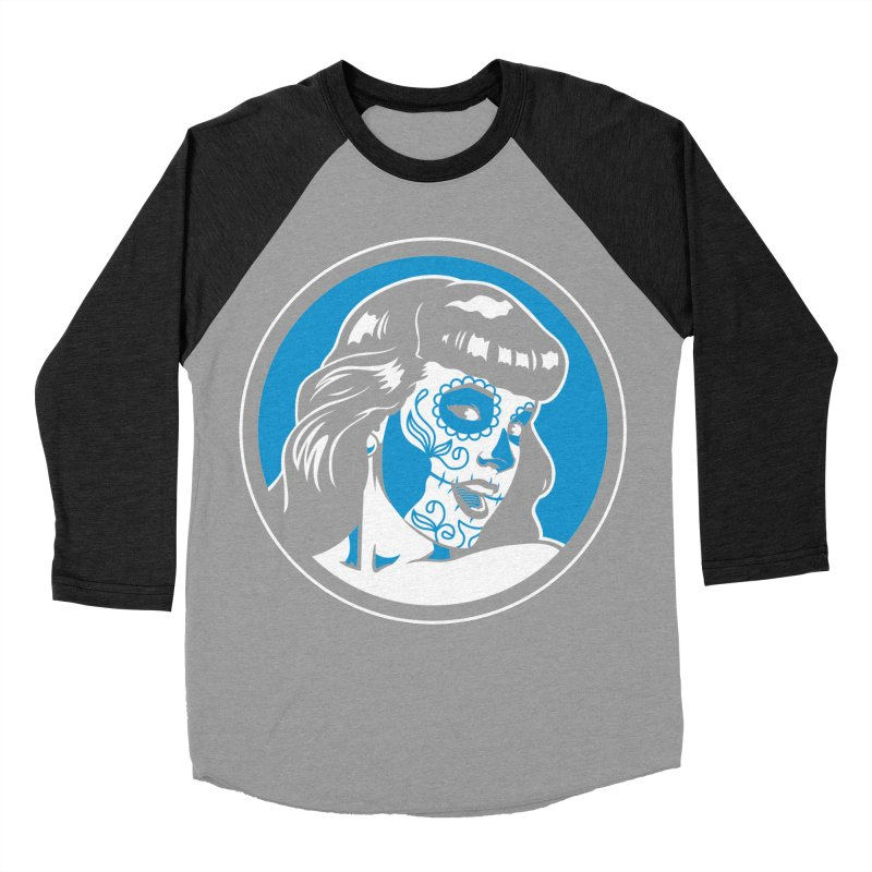 Bettie Sugar Skull Blue Women's Baseball Triblend T-Shirt by bennygraphix's Artist Shop