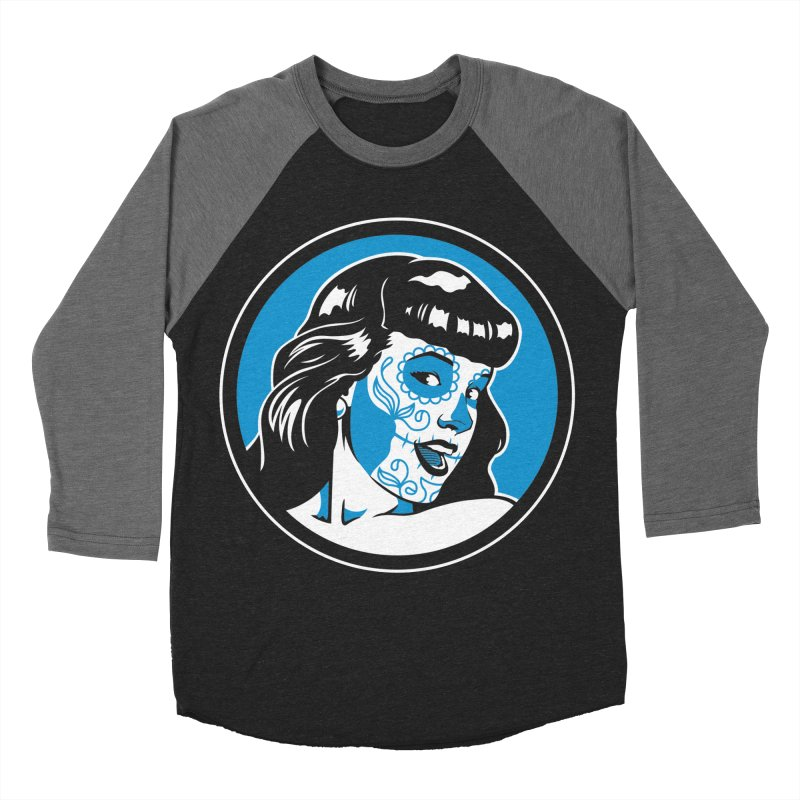 Bettie Sugar Skull Blue Men's Baseball Triblend T-Shirt by bennygraphix's Artist Shop