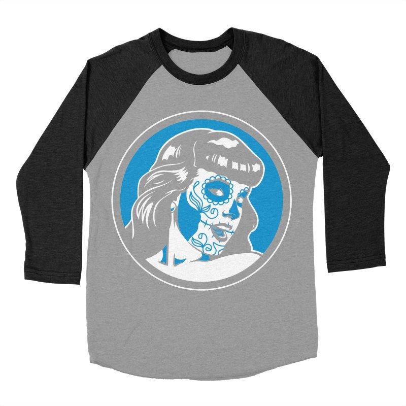 Bettie Sugar Skull Blue Men's Baseball Triblend T-Shirt by bennygraphix's Artist Shop