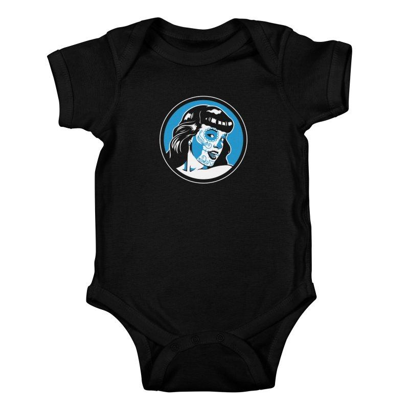 Bettie Sugar Skull Blue Kids Baby Bodysuit by bennygraphix's Artist Shop