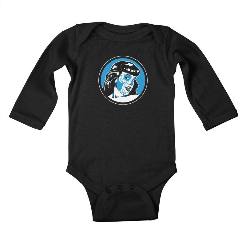 Bettie Sugar Skull Blue Kids Baby Longsleeve Bodysuit by bennygraphix's Artist Shop