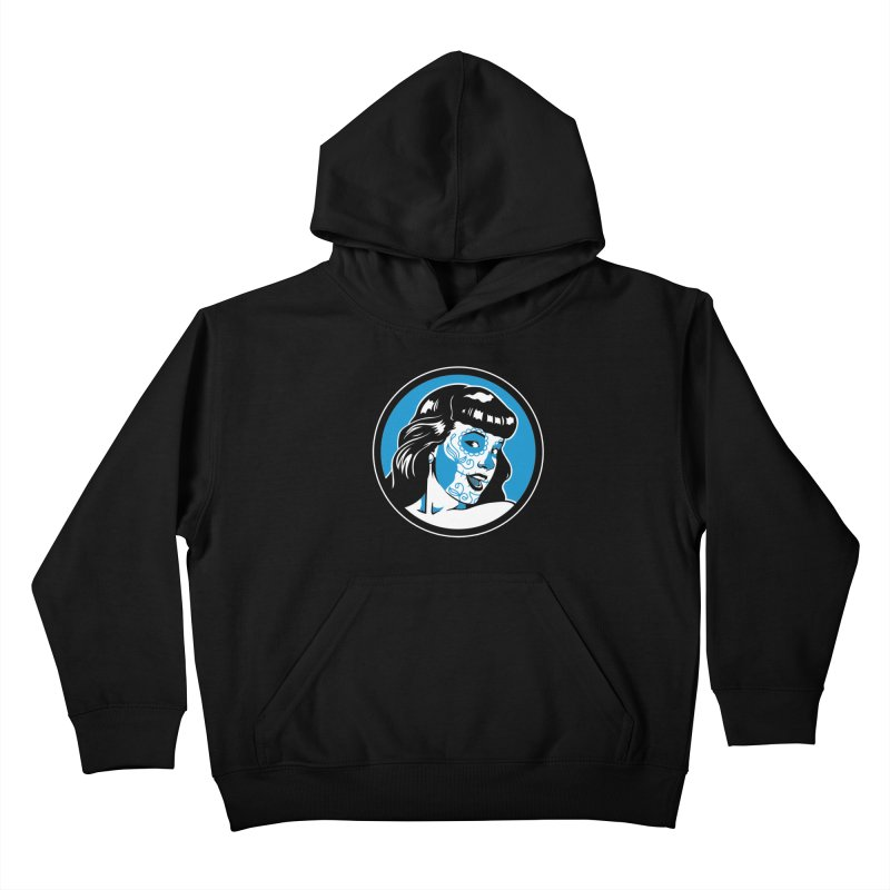 Bettie Sugar Skull Blue Kids Pullover Hoody by bennygraphix's Artist Shop
