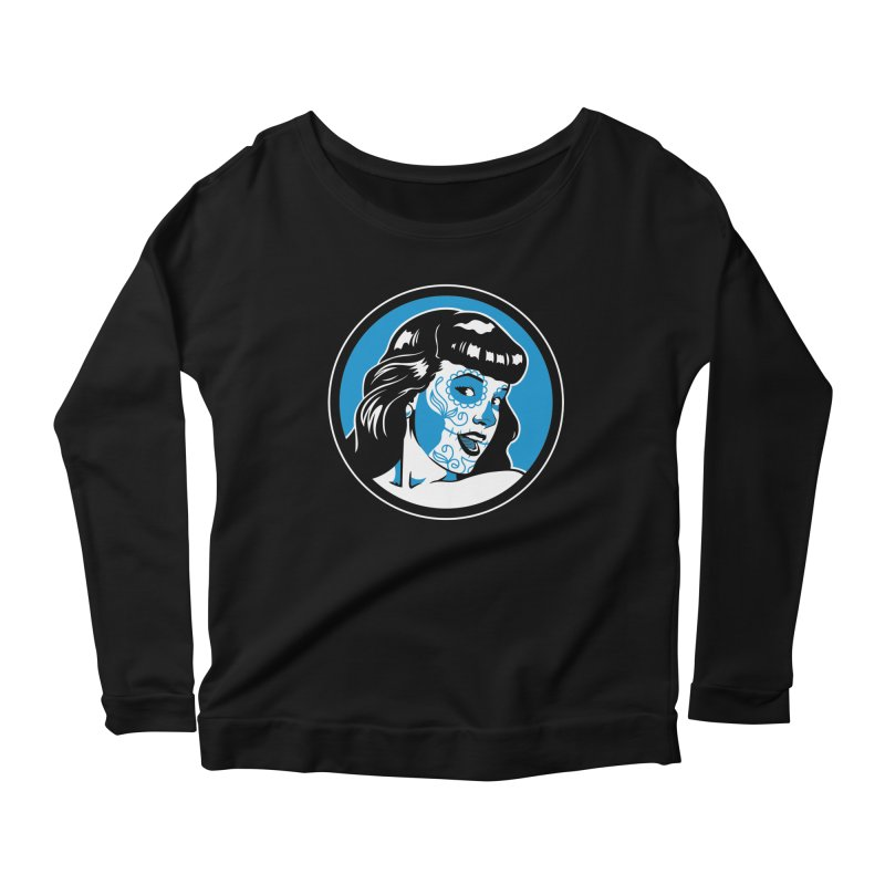 Bettie Sugar Skull Blue Women's Longsleeve Scoopneck  by bennygraphix's Artist Shop