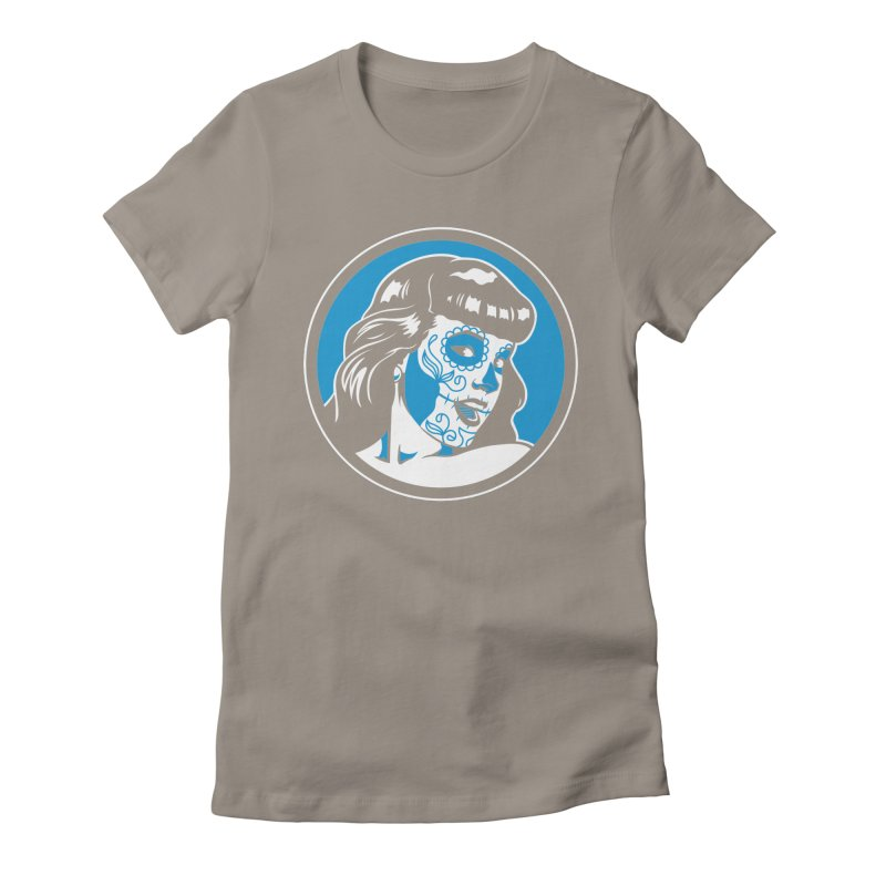 Bettie Sugar Skull Blue Women's Fitted T-Shirt by bennygraphix's Artist Shop