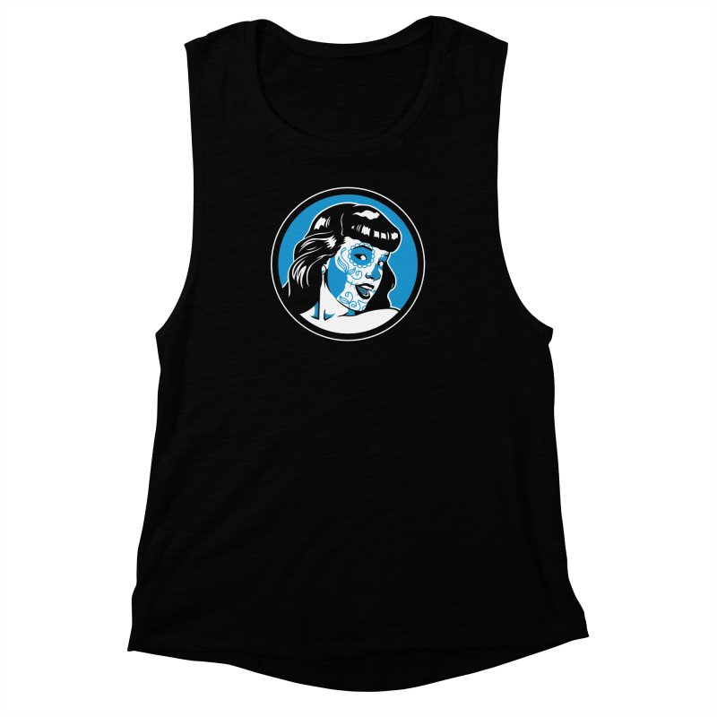 Bettie Sugar Skull Blue Women's Muscle Tank by bennygraphix's Artist Shop