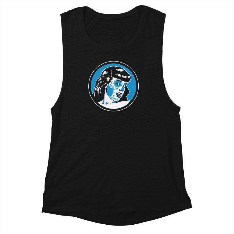 Bettie Sugar Skull Blue Women's Muscle Tank by bennygraphix's Artist Shop