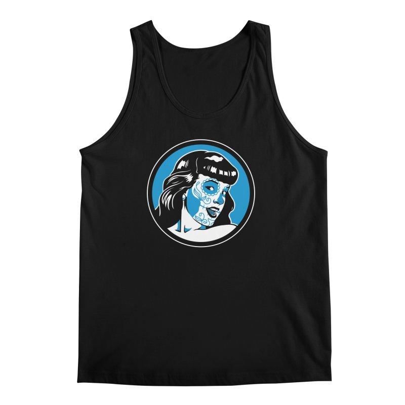 Bettie Sugar Skull Blue Men's Tank by bennygraphix's Artist Shop
