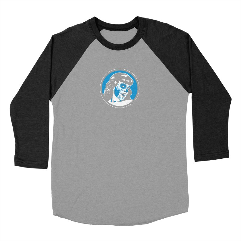 Bettie Sugar Skull Blue Women's Baseball Triblend Longsleeve T-Shirt by bennygraphix's Artist Shop