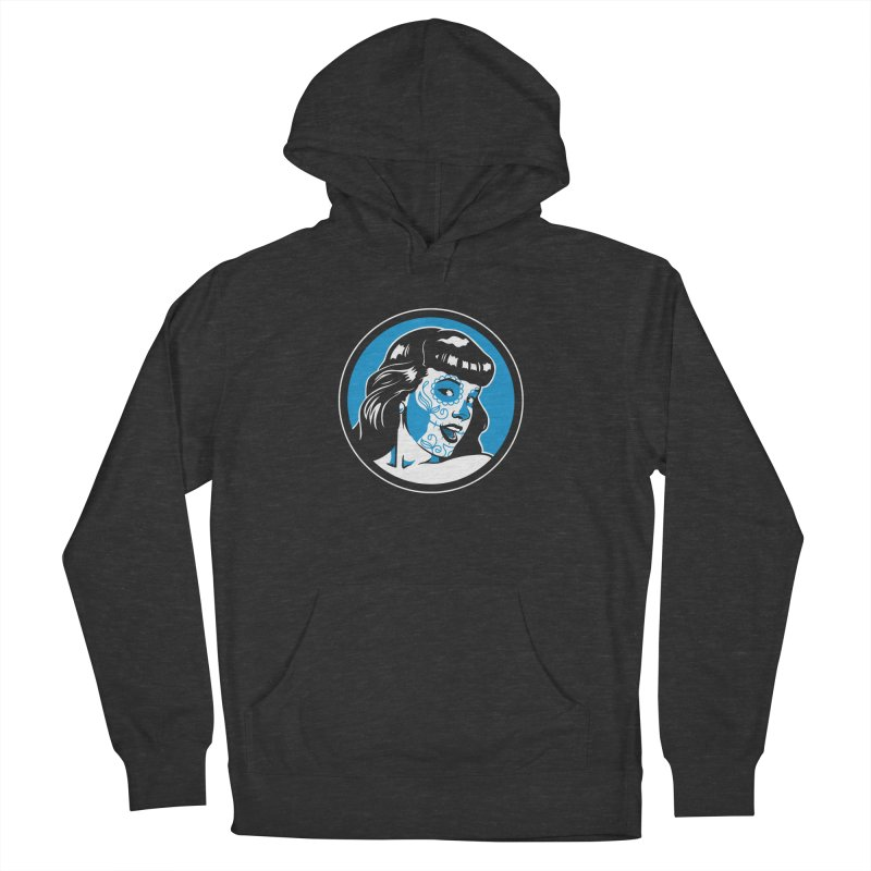 Bettie Sugar Skull Blue Men's French Terry Pullover Hoody by bennygraphix's Artist Shop