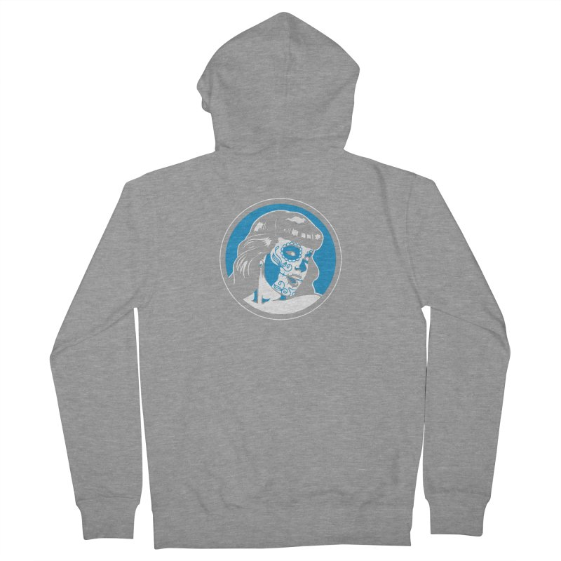 Bettie Sugar Skull Blue Men's French Terry Zip-Up Hoody by bennygraphix's Artist Shop